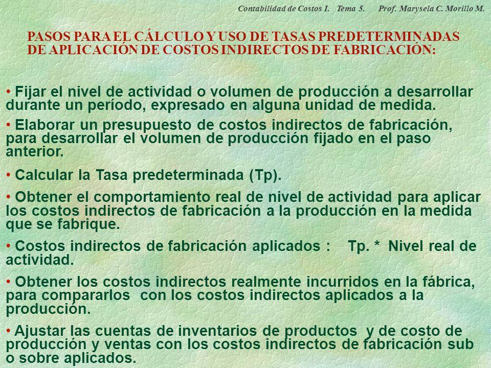 Calcular la Tasa predeterminada (Tp).