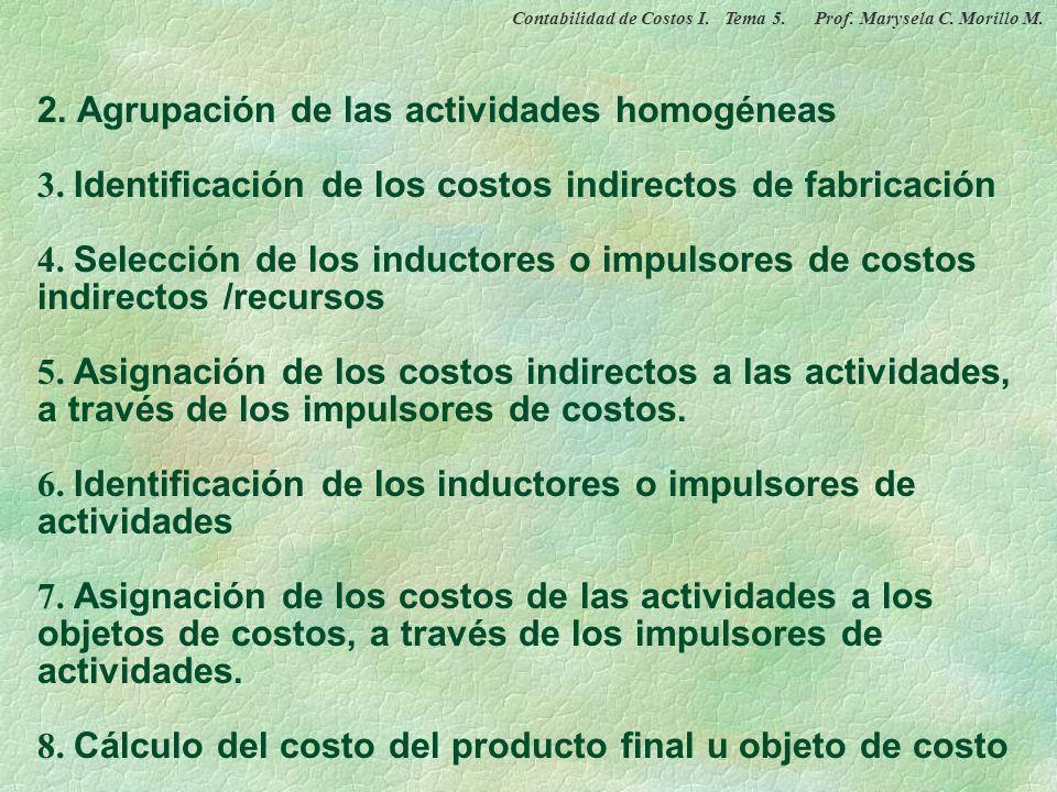 2. Agrupación de las actividades homogéneas