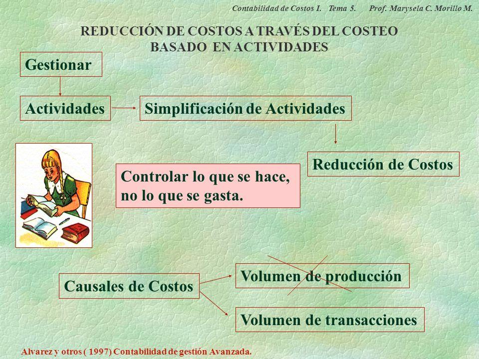 REDUCCIÓN DE COSTOS A TRAVÉS DEL COSTEO BASADO EN ACTIVIDADES