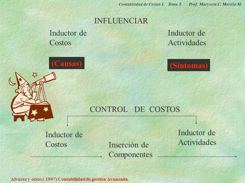 INFLUENCIAR Inductor de Costos Inductor de Actividades (Causas)