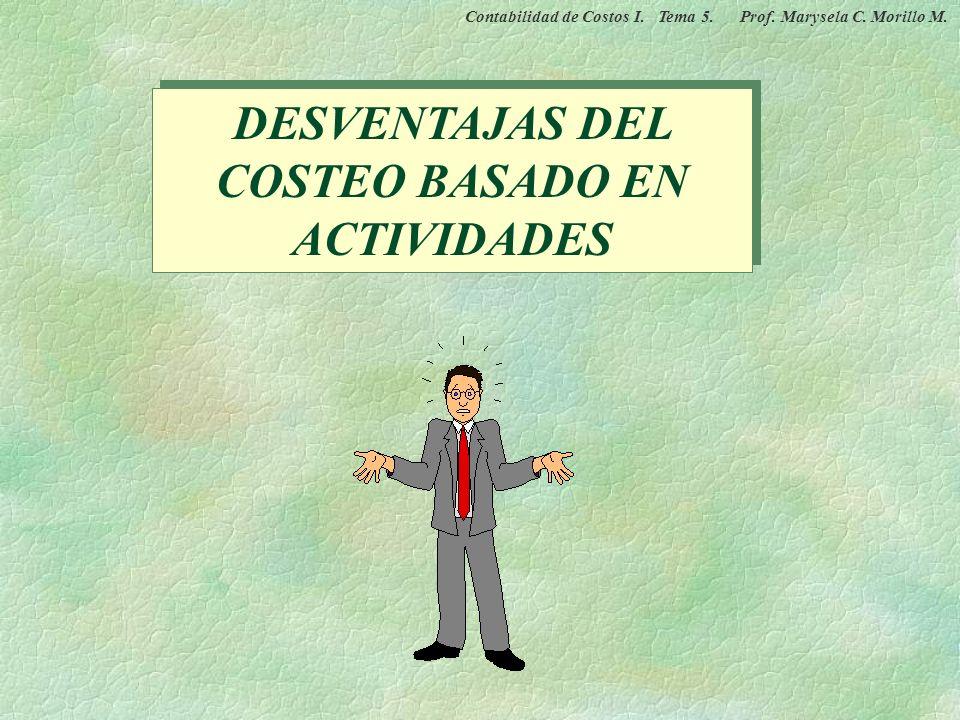 DESVENTAJAS DEL COSTEO BASADO EN ACTIVIDADES