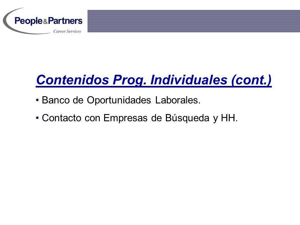 Contenidos Prog. Individuales (cont.)