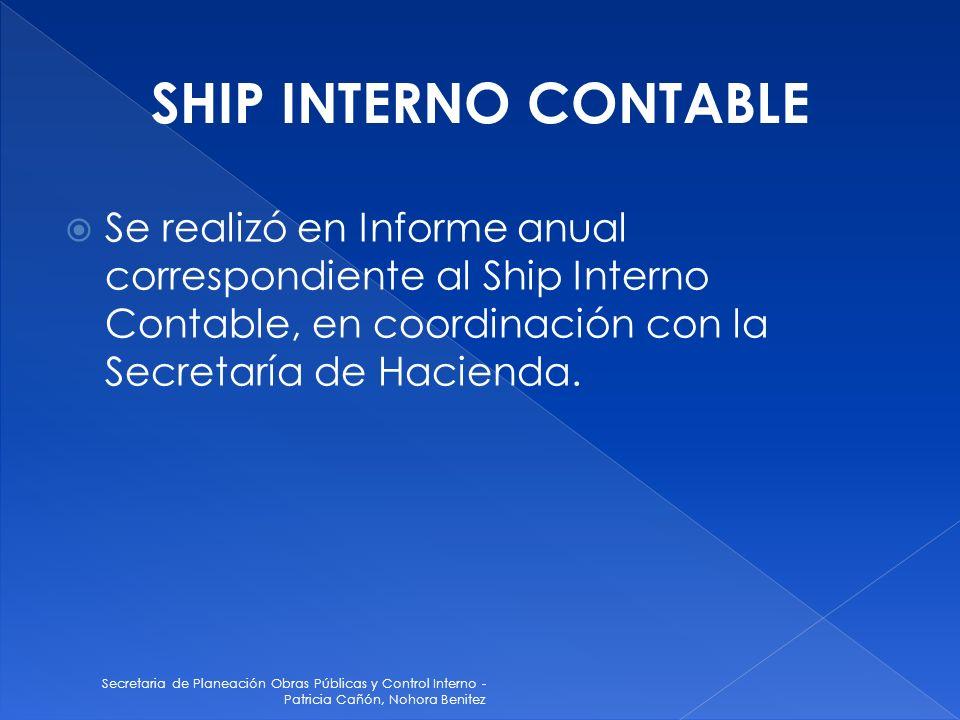 SHIP INTERNO CONTABLE Se realizó en Informe anual correspondiente al Ship Interno Contable, en coordinación con la Secretaría de Hacienda.