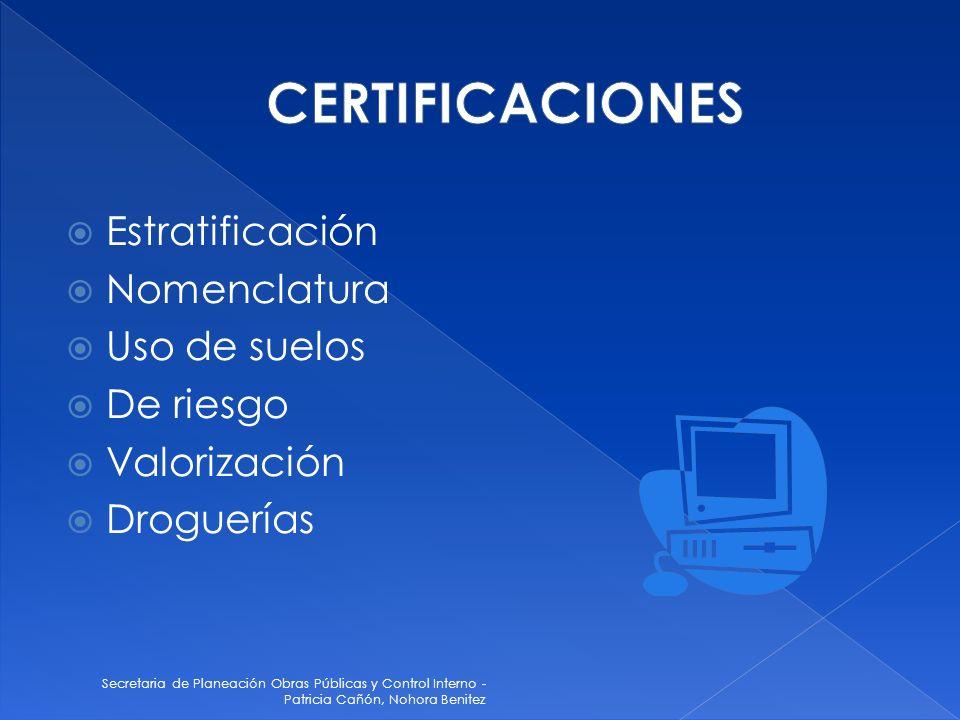 CERTIFICACIONES Estratificación Nomenclatura Uso de suelos De riesgo