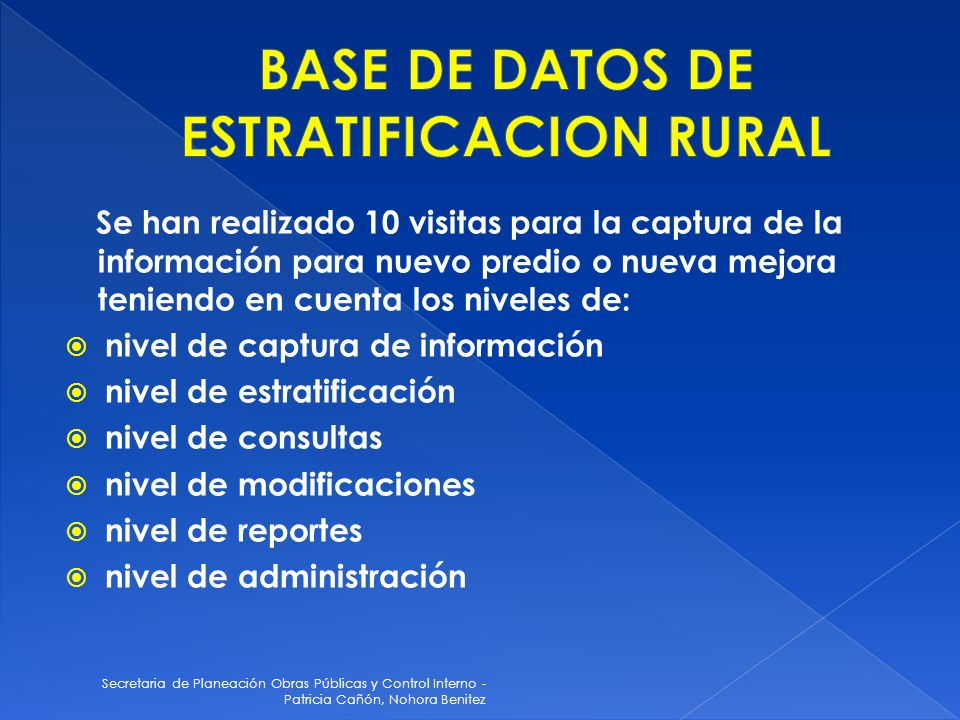 BASE DE DATOS DE ESTRATIFICACION RURAL