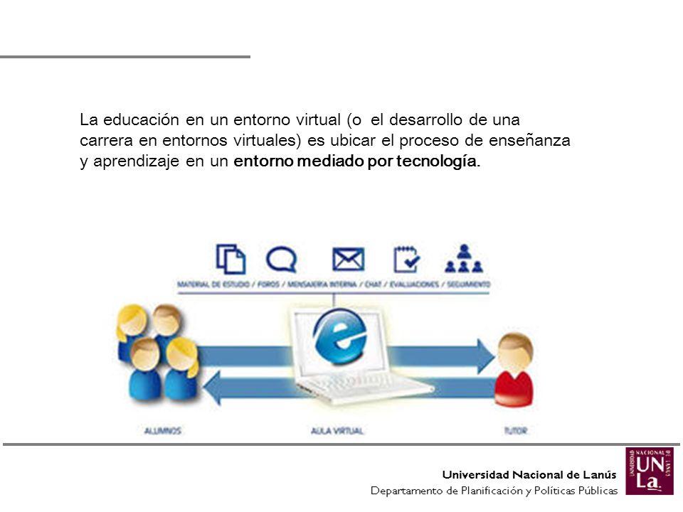 La educación en un entorno virtual (o el desarrollo de una carrera en entornos virtuales) es ubicar el proceso de enseñanza y aprendizaje en un entorno mediado por tecnología.