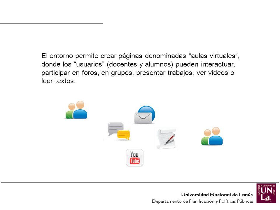 El entorno permite crear páginas denominadas aulas virtuales , donde los usuarios (docentes y alumnos) pueden interactuar, participar en foros, en grupos, presentar trabajos, ver videos o leer textos.