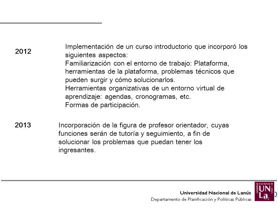 Implementación de un curso introductorio que incorporó los siguientes aspectos: