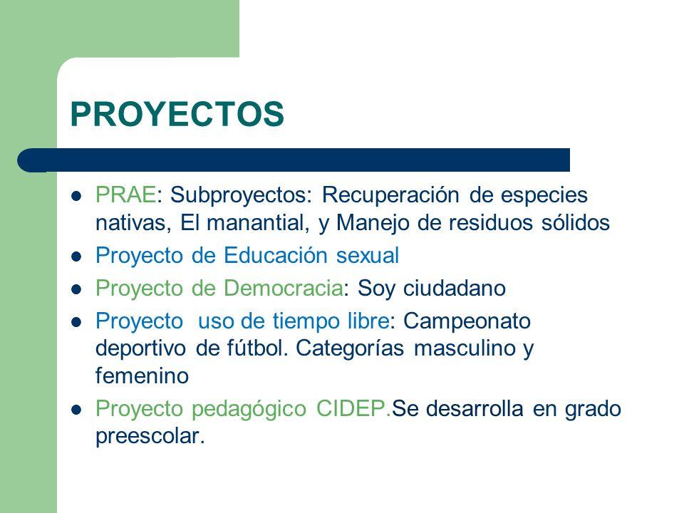 PROYECTOS PRAE: Subproyectos: Recuperación de especies nativas, El manantial, y Manejo de residuos sólidos.