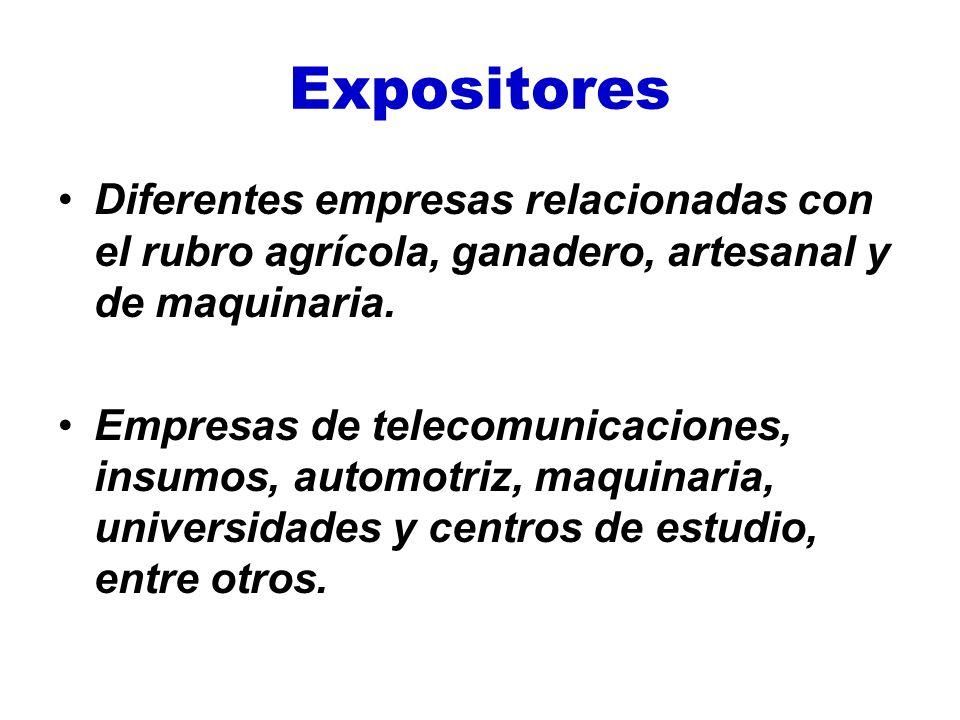 Expositores Diferentes empresas relacionadas con el rubro agrícola, ganadero, artesanal y de maquinaria.