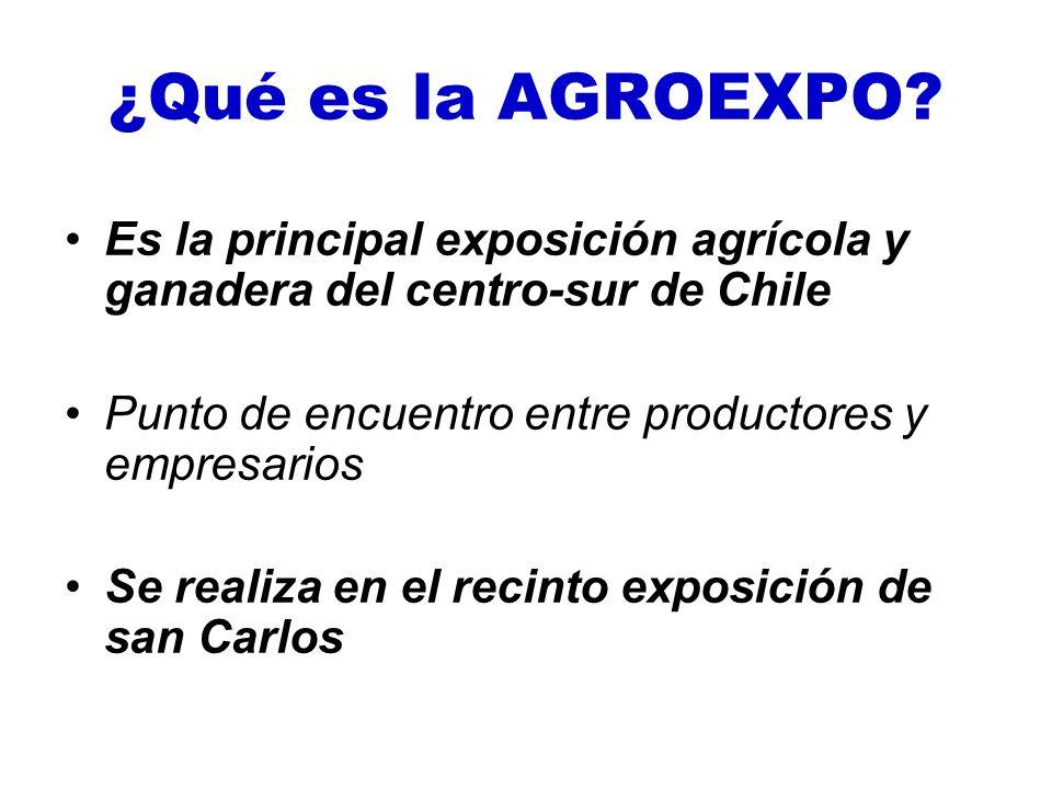 ¿Qué es la AGROEXPO Es la principal exposición agrícola y ganadera del centro-sur de Chile. Punto de encuentro entre productores y empresarios.