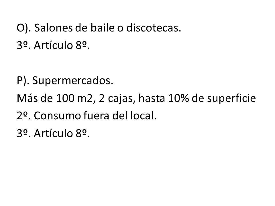 O). Salones de baile o discotecas. 3º. Artículo 8º. P). Supermercados