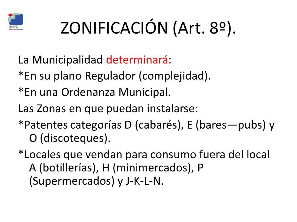 ZONIFICACIÓN (Art. 8º).