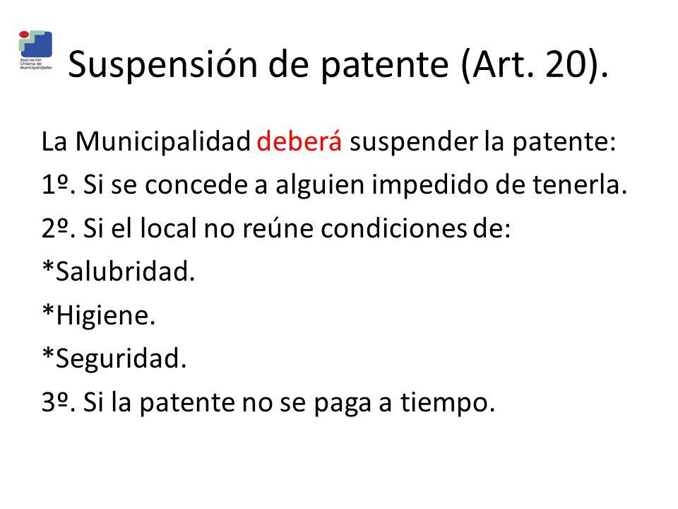 Suspensión de patente (Art. 20).