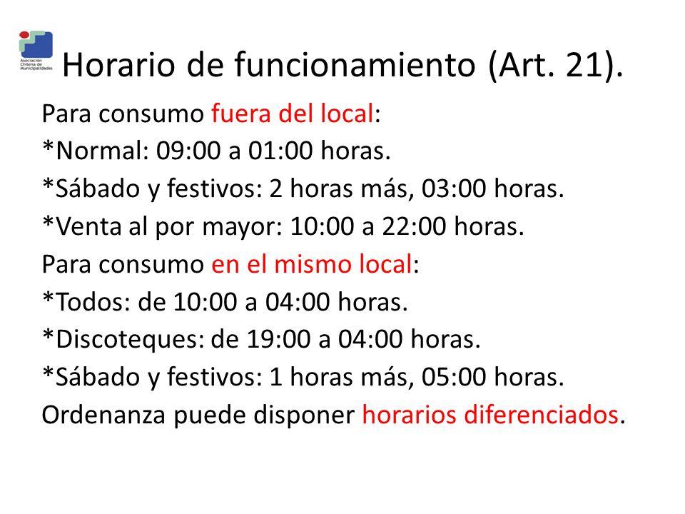 Horario de funcionamiento (Art. 21).