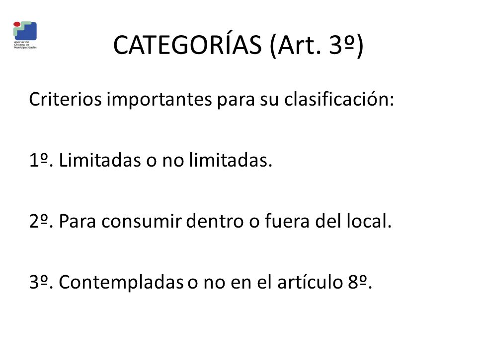 CATEGORÍAS (Art. 3º)