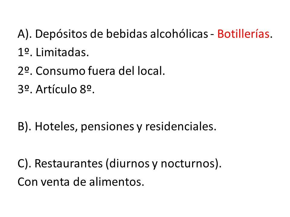 A). Depósitos de bebidas alcohólicas - Botillerías. 1º. Limitadas. 2º