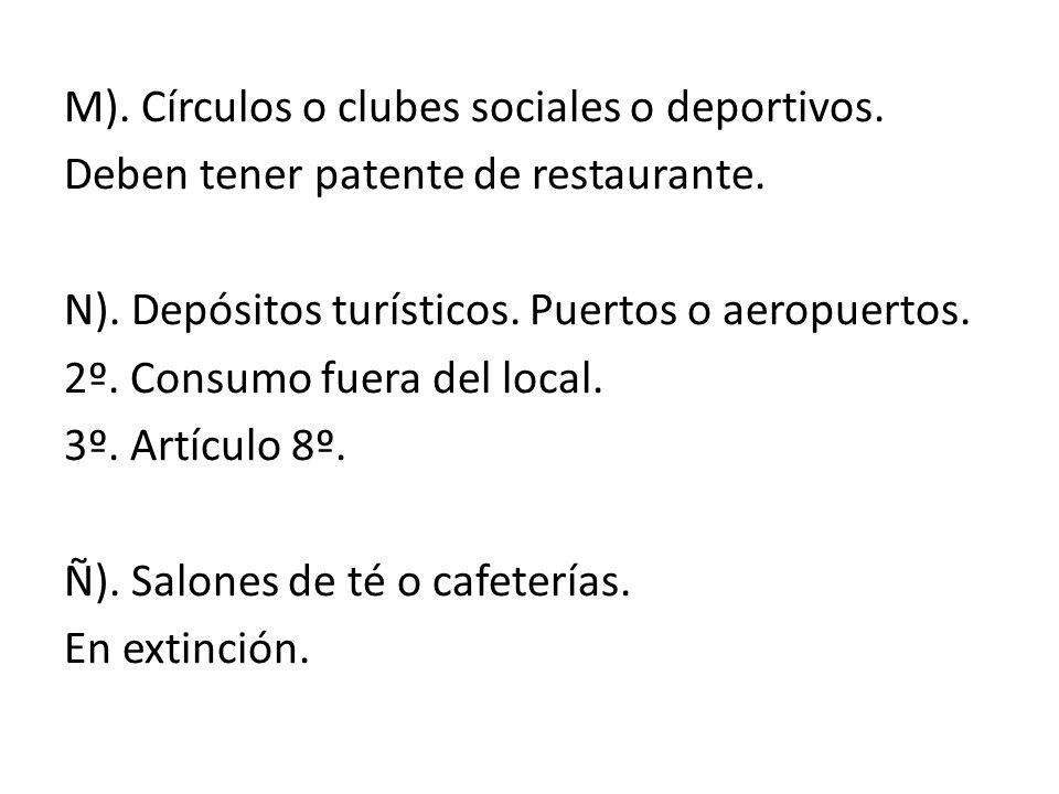 M). Círculos o clubes sociales o deportivos
