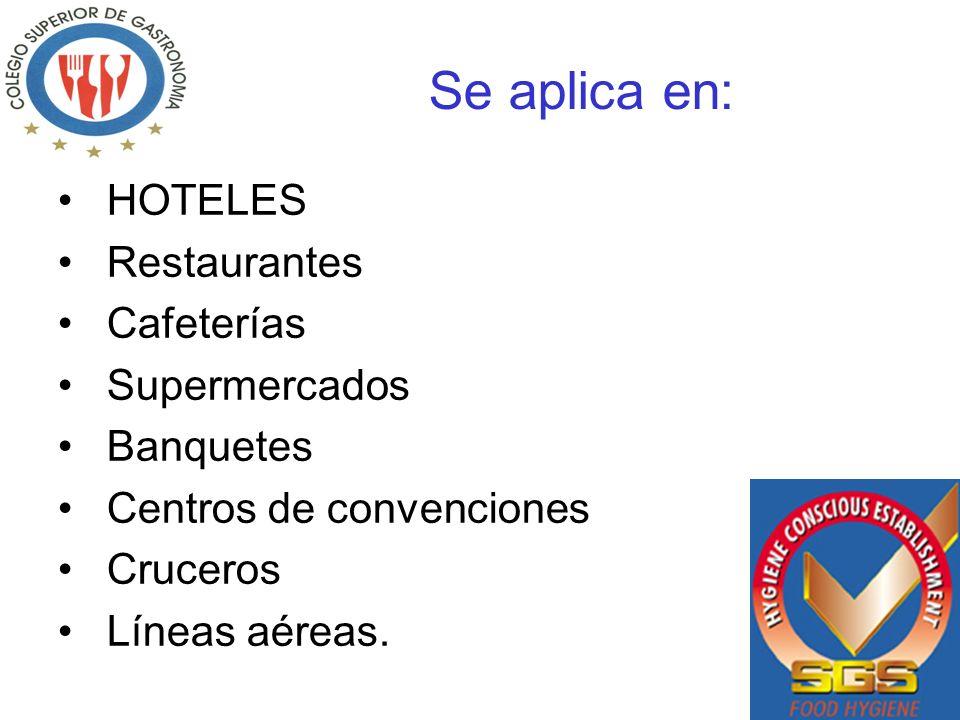 Se aplica en: HOTELES Restaurantes Cafeterías Supermercados Banquetes