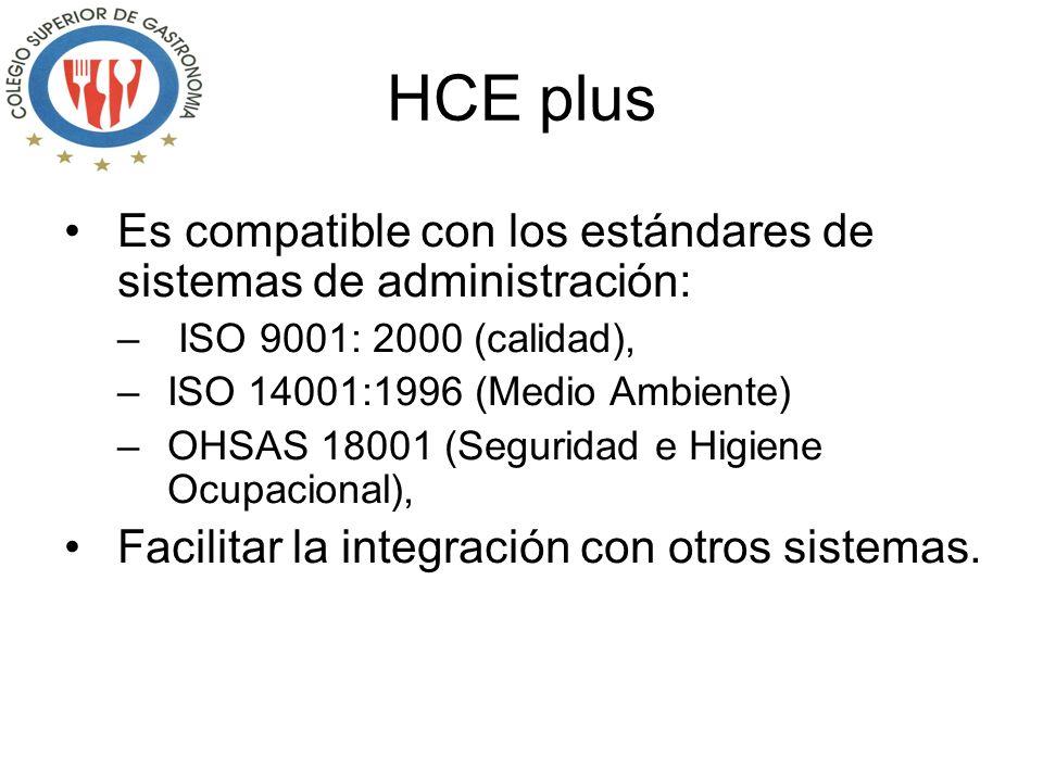 HCE plus Es compatible con los estándares de sistemas de administración: ISO 9001: 2000 (calidad),