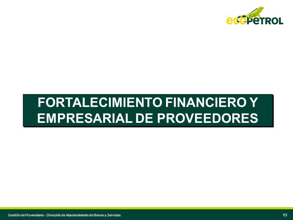 FORTALECIMIENTO FINANCIERO Y EMPRESARIAL DE PROVEEDORES