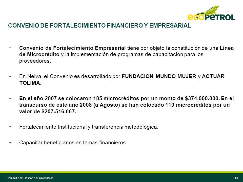 CONVENIO DE FORTALECIMIENTO FINANCIERO Y EMPRESARIAL