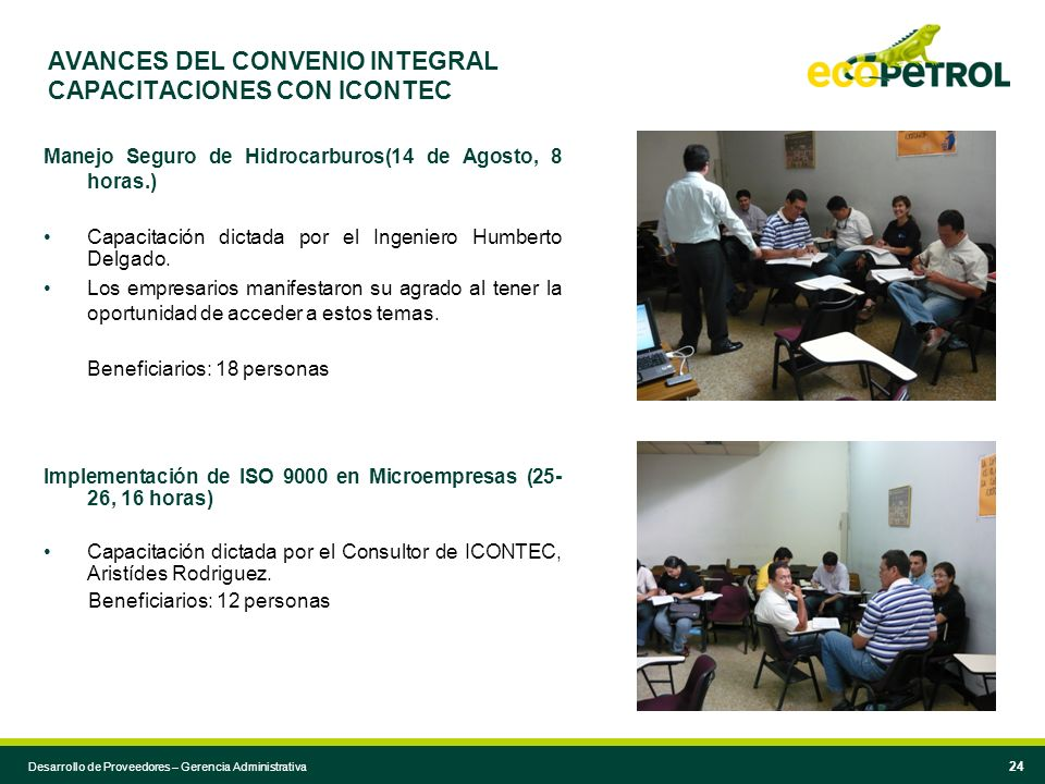 AVANCES DEL CONVENIO INTEGRAL CAPACITACIONES CON ICONTEC