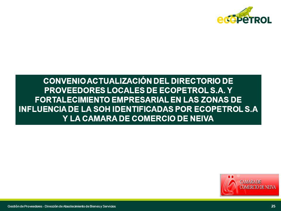CONVENIO ACTUALIZACIÓN DEL DIRECTORIO DE PROVEEDORES LOCALES DE ECOPETROL S.A. Y FORTALECIMIENTO EMPRESARIAL EN LAS ZONAS DE INFLUENCIA DE LA SOH IDENTIFICADAS POR ECOPETROL S.A Y LA CAMARA DE COMERCIO DE NEIVA