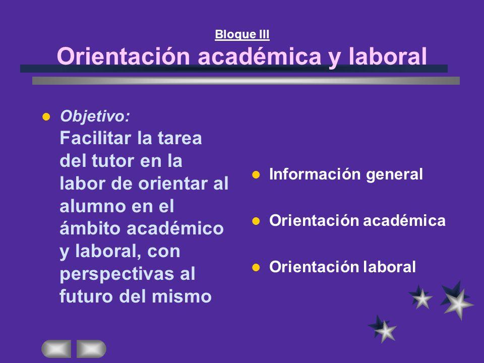 Bloque III Orientación académica y laboral