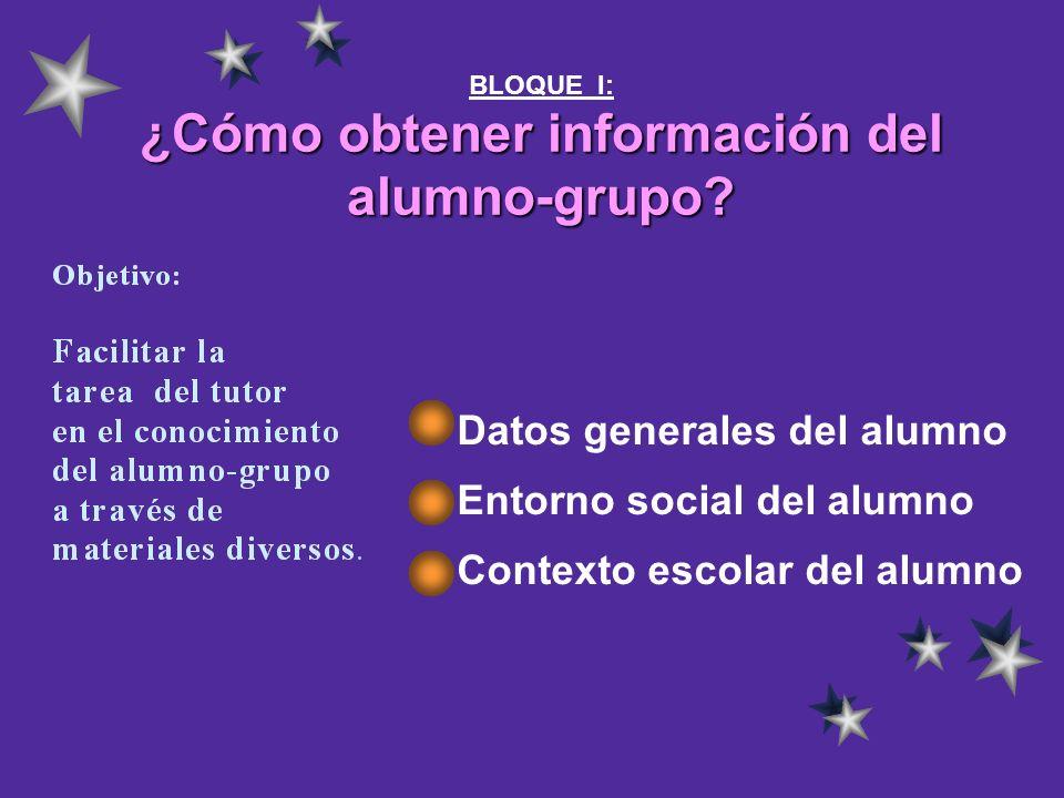 BLOQUE I: ¿Cómo obtener información del alumno-grupo