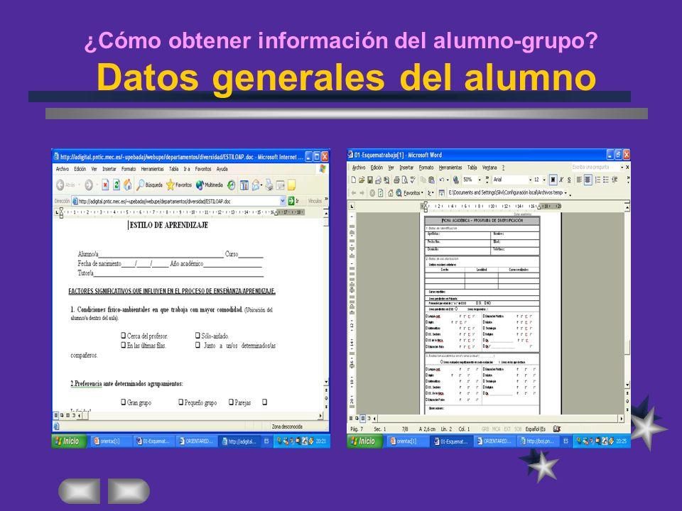¿Cómo obtener información del alumno-grupo Datos generales del alumno