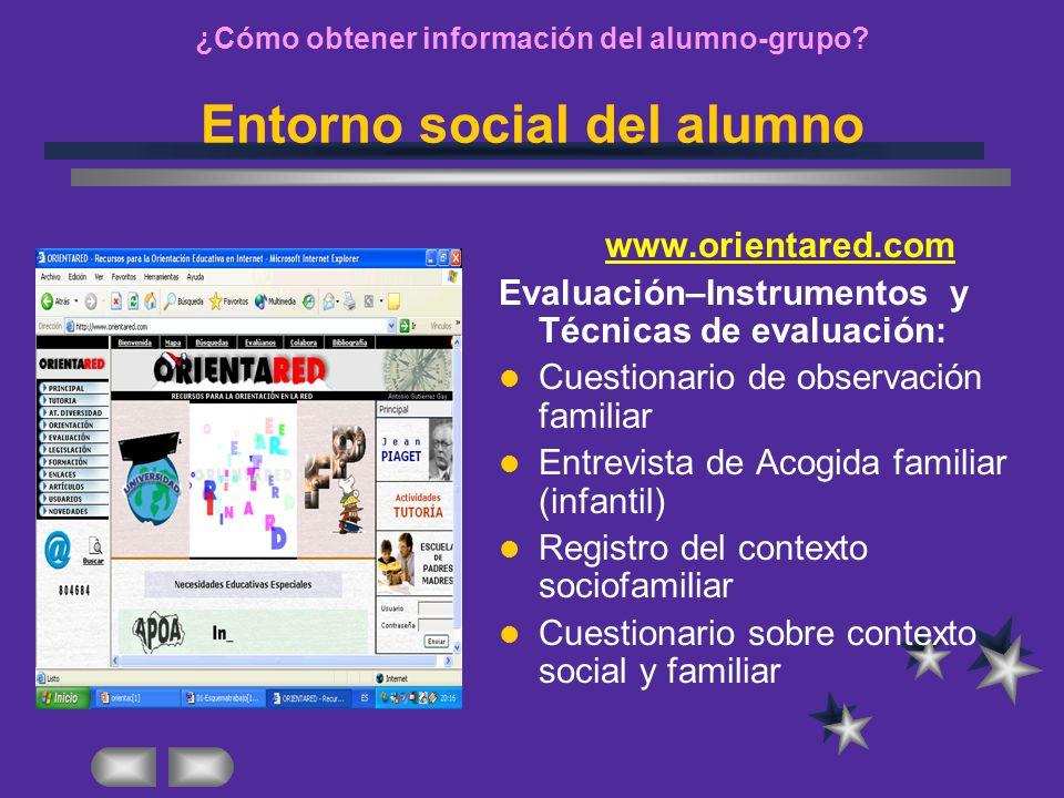 ¿Cómo obtener información del alumno-grupo Entorno social del alumno