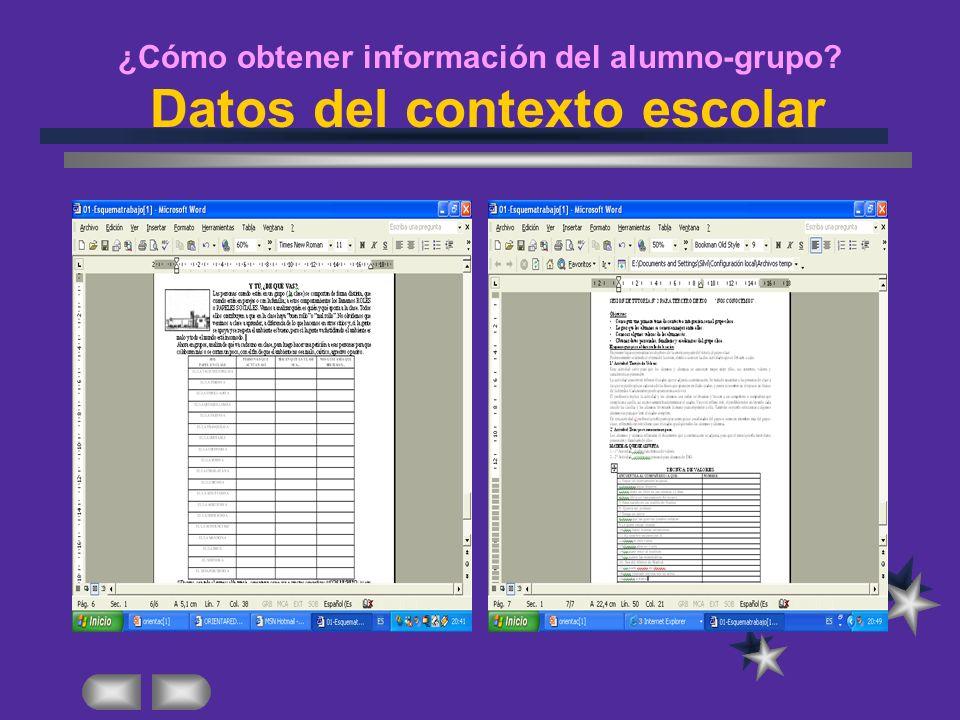 ¿Cómo obtener información del alumno-grupo Datos del contexto escolar