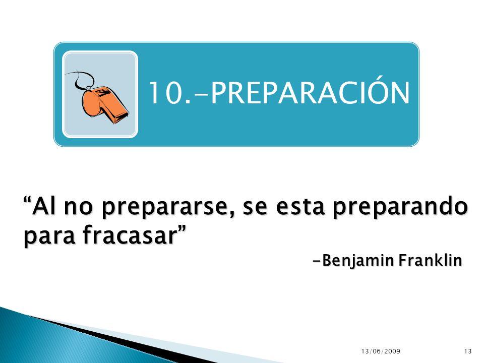 10.-PREPARACIÓN Al no prepararse, se esta preparando para fracasar