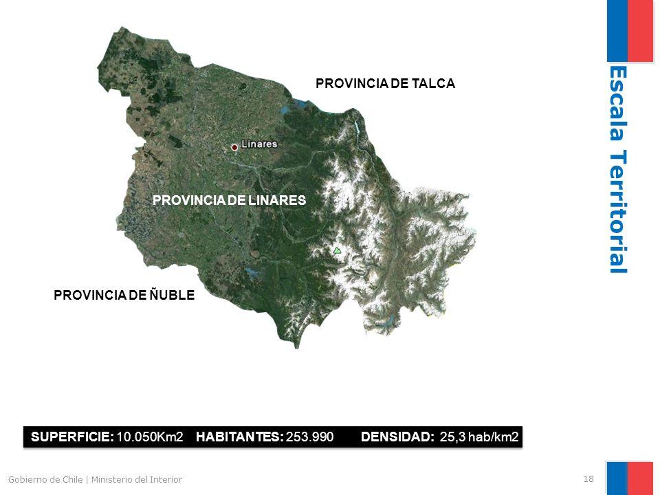 Escala Territorial PROVINCIA DE TALCA PROVINCIA DE LINARES