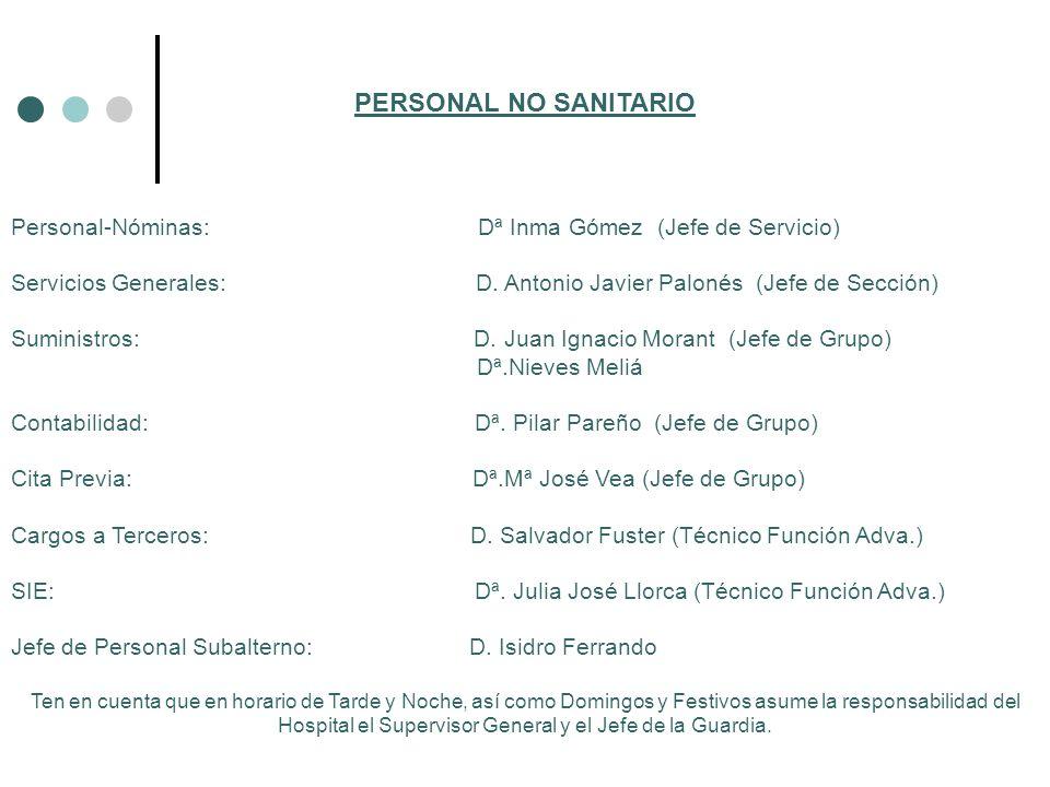 PERSONAL NO SANITARIO Personal-Nóminas: Dª Inma Gómez (Jefe de Servicio)