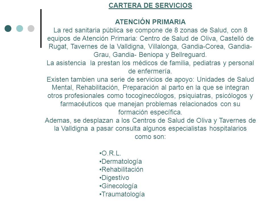 CARTERA DE SERVICIOS ATENCIÓN PRIMARIA.