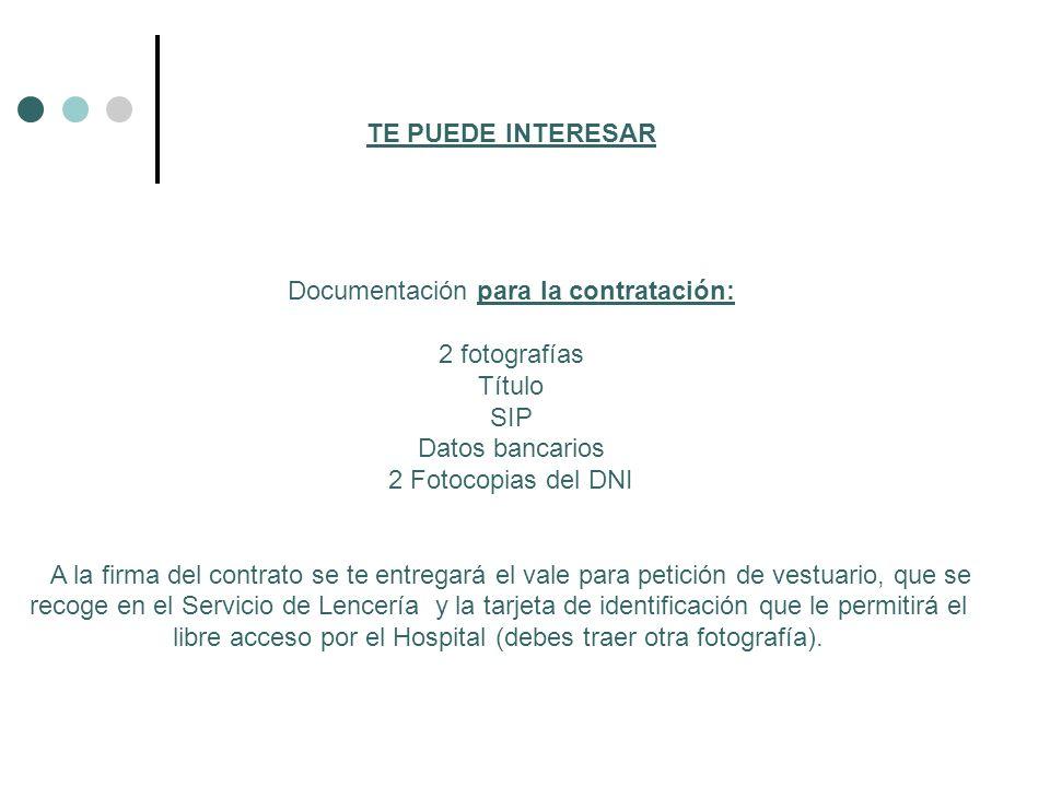Documentación para la contratación: