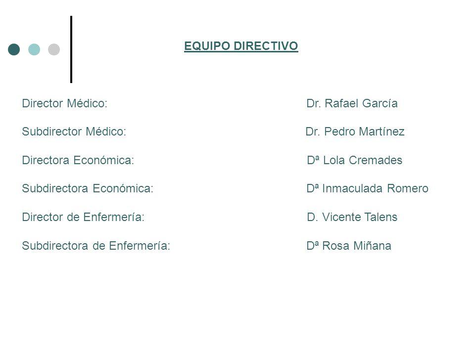 EQUIPO DIRECTIVO Director Médico: Dr. Rafael García.