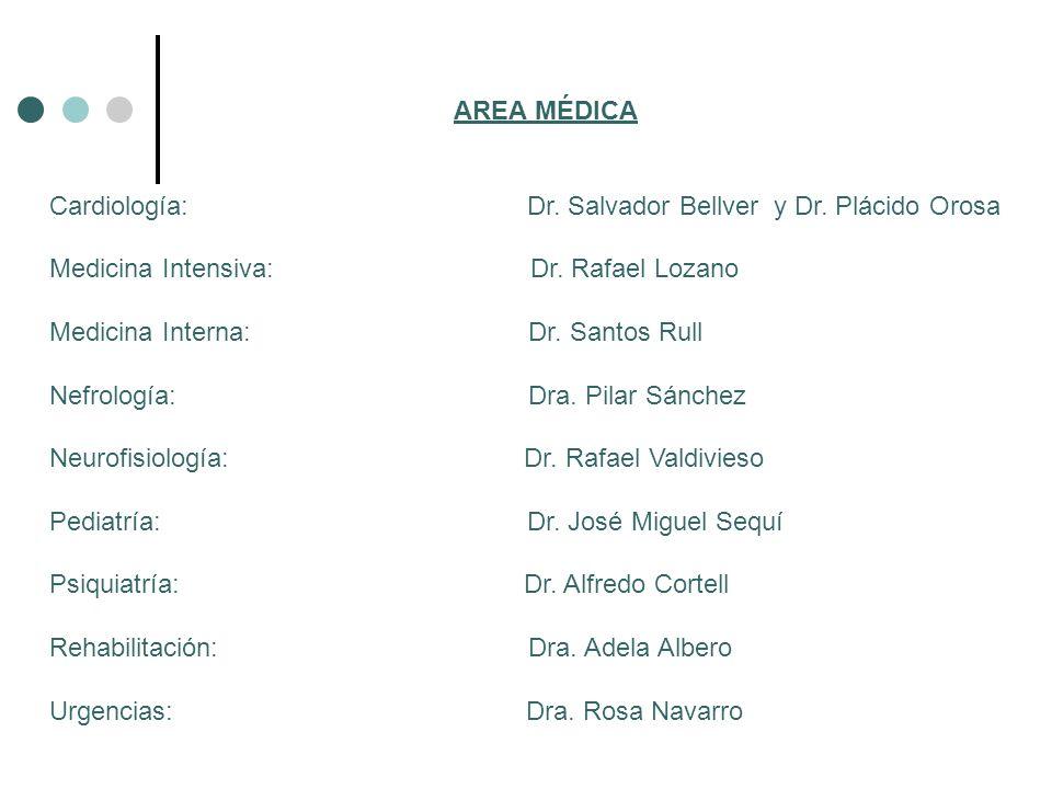 AREA MÉDICA Cardiología: Dr. Salvador Bellver y Dr. Plácido Orosa.