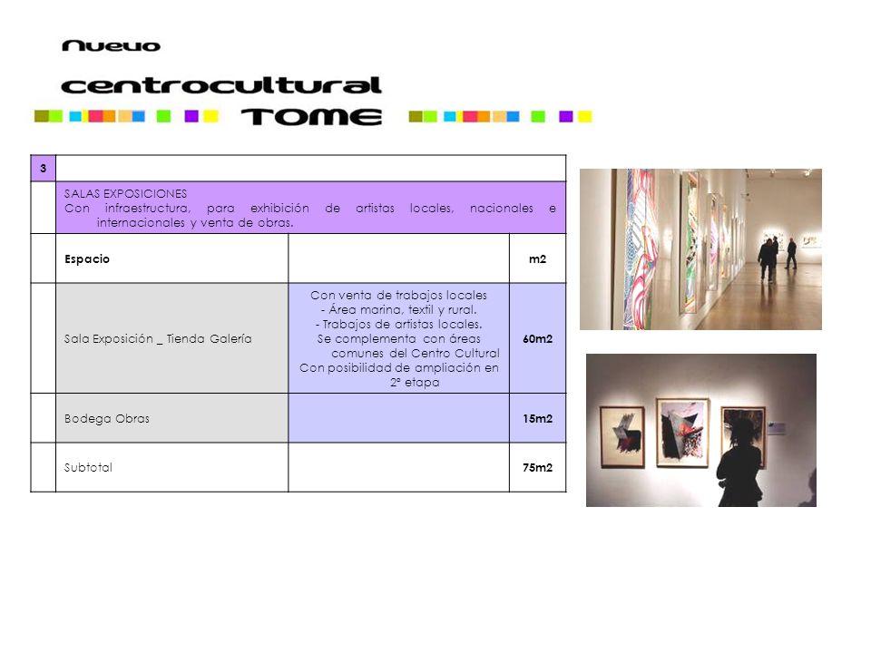 3 SALAS EXPOSICIONES. Con infraestructura, para exhibición de artistas locales, nacionales e internacionales y venta de obras.