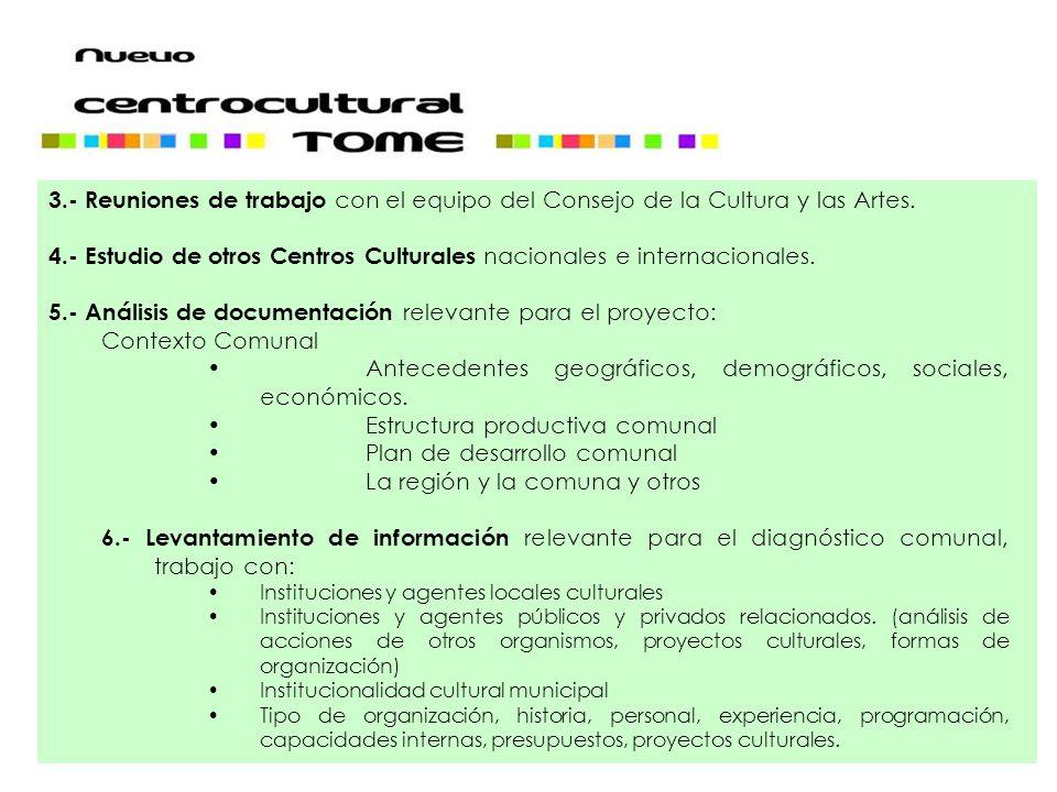 4.- Estudio de otros Centros Culturales nacionales e internacionales.