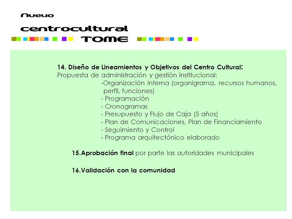 14. Diseño de Lineamientos y Objetivos del Centro Cultural: