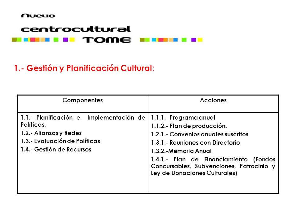 1.- Gestión y Planificación Cultural: