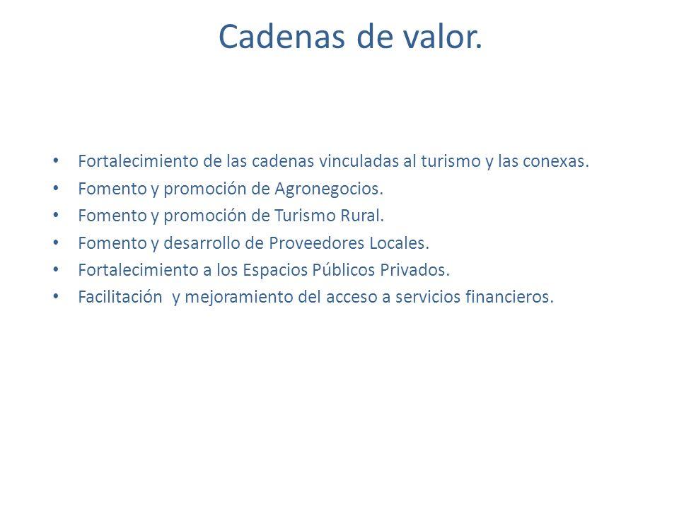 Cadenas de valor. Fortalecimiento de las cadenas vinculadas al turismo y las conexas. Fomento y promoción de Agronegocios.