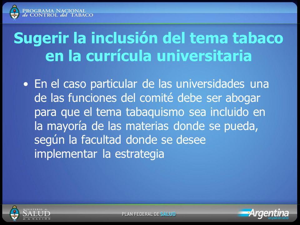 Sugerir la inclusión del tema tabaco en la currícula universitaria