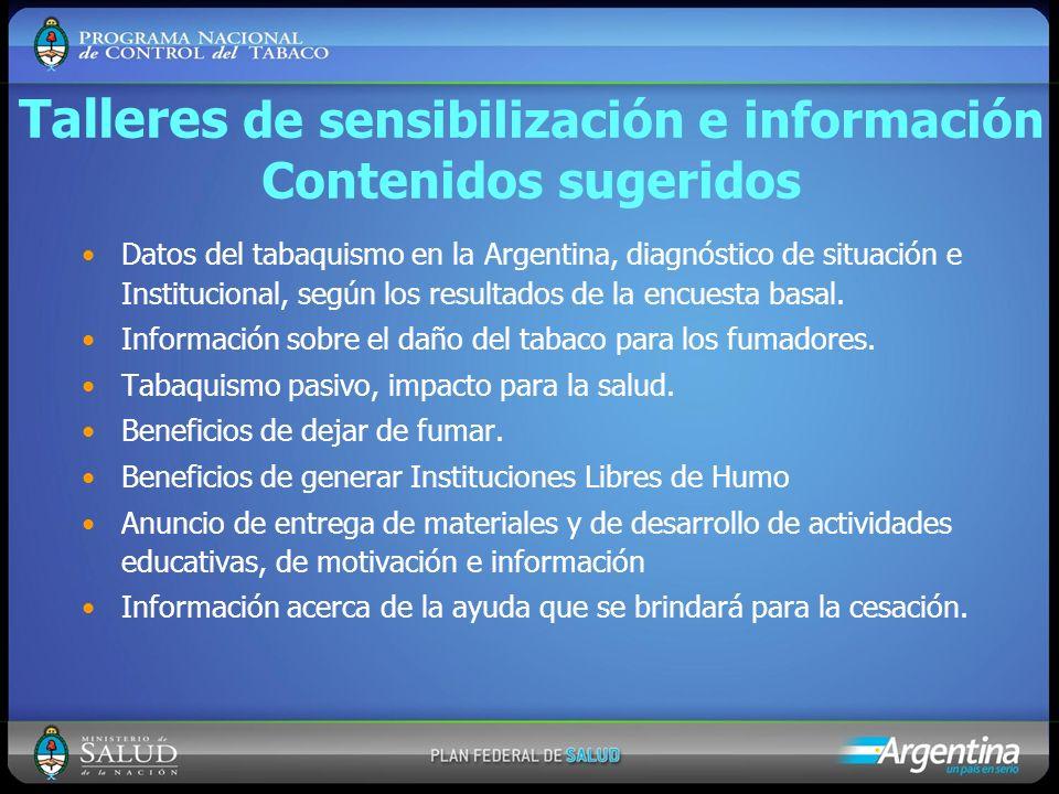 Talleres de sensibilización e información Contenidos sugeridos