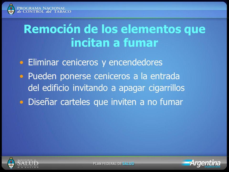 Remoción de los elementos que incitan a fumar