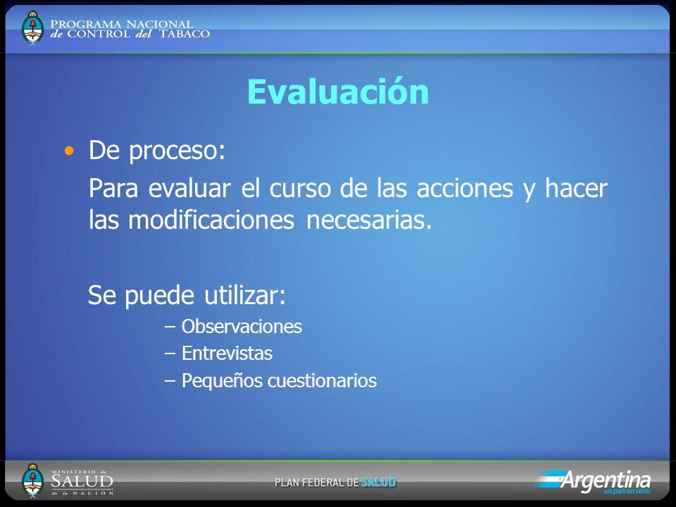 Evaluación De proceso: