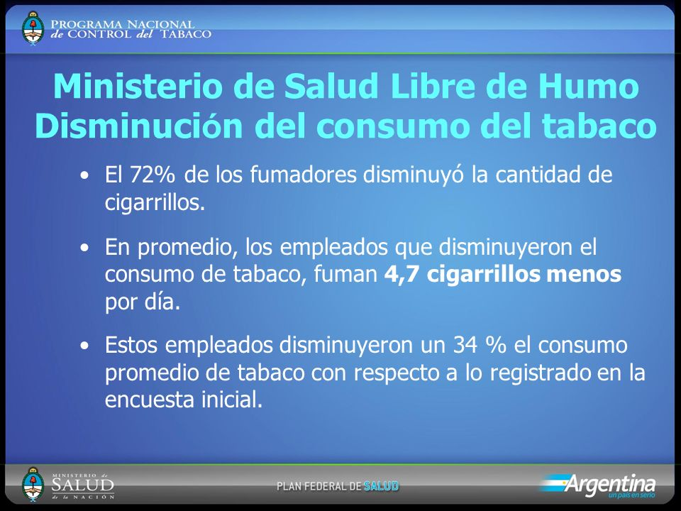 Ministerio de Salud Libre de Humo Disminución del consumo del tabaco